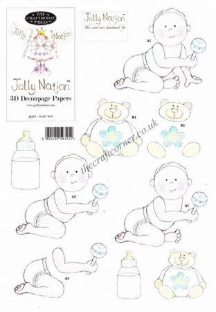Baby Boy Jolly Nation Die Cut 3D Decoupage Sheet